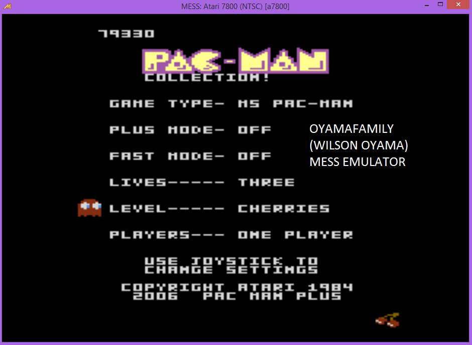 oyamafamily: Pac-Man Collection: Ms. Pac-Man [Cherries/Plus Off/Fast Off] (Atari 7800 Emulated) 79,330 points on 2015-11-18 19:03:12
