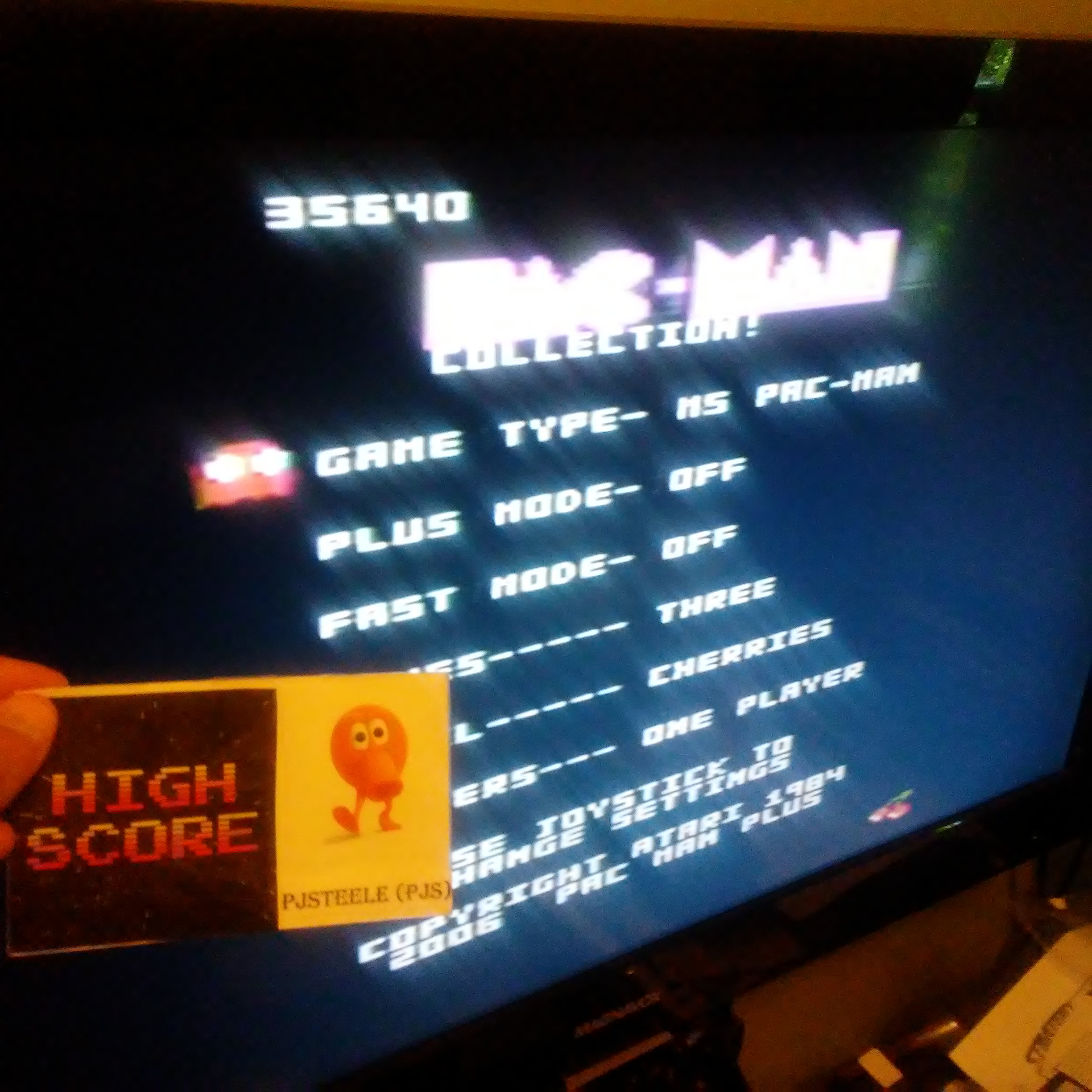 Pjsteele: Pac-Man Collection: Ms. Pac-Man [Cherries/Plus Off/Fast Off] (Atari 7800) 35,640 points on 2018-06-28 14:56:40