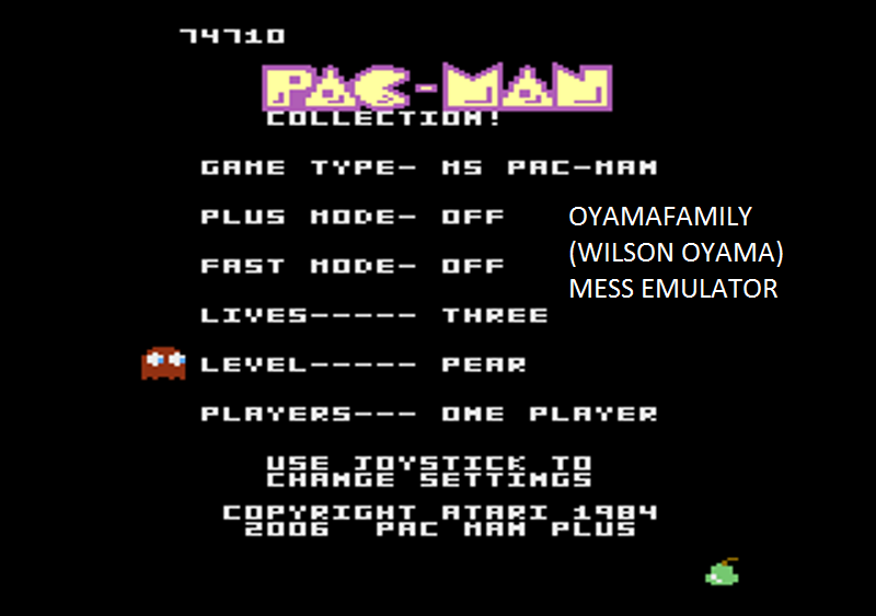 oyamafamily: Pac-Man Collection: Ms. Pac-Man [Pear/Plus Off/Fast Off] (Atari 7800 Emulated) 74,710 points on 2016-02-27 17:45:30