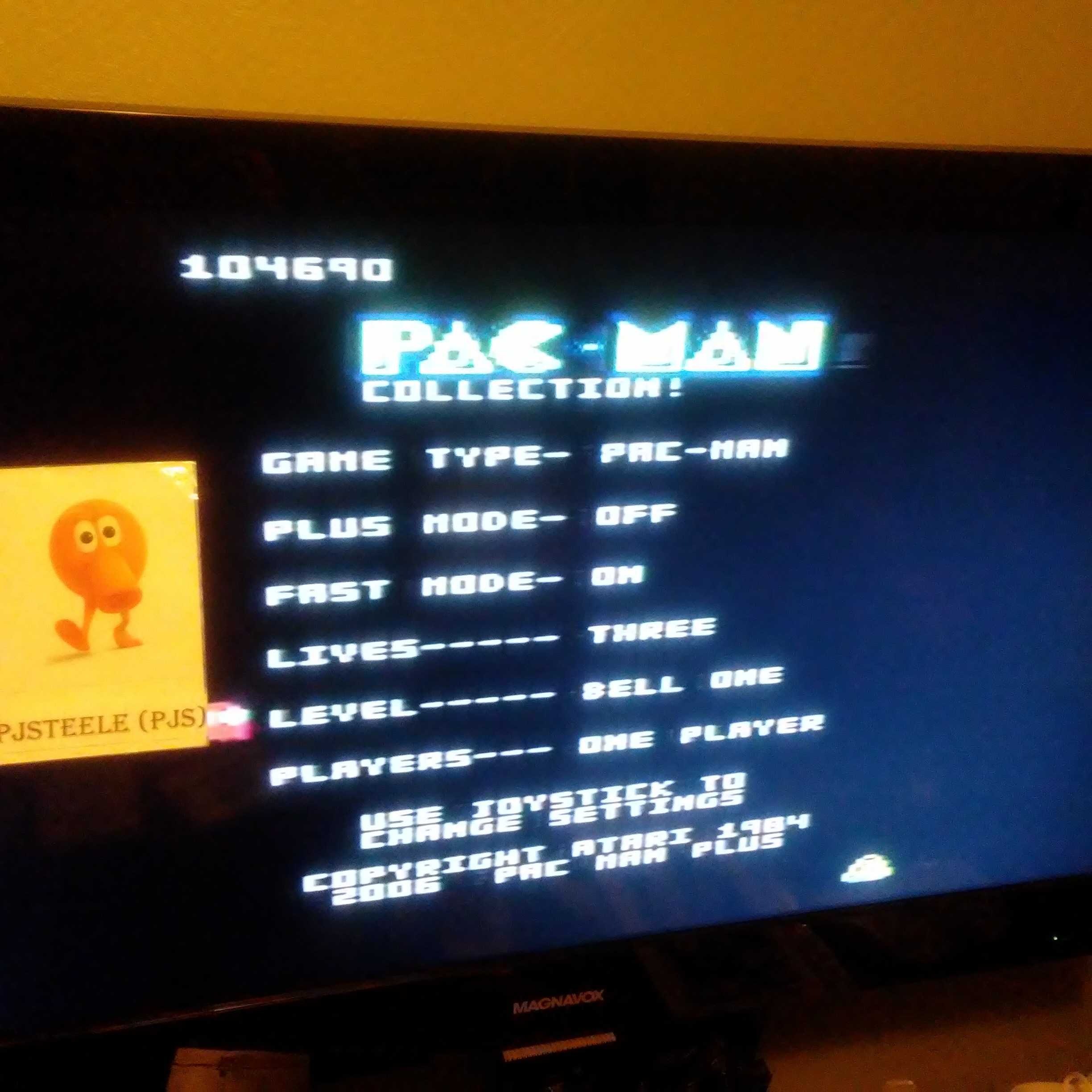 Pac-Man Collection: Pac-Man [Bell One/Plus Off/Fast On] 104,690 points
