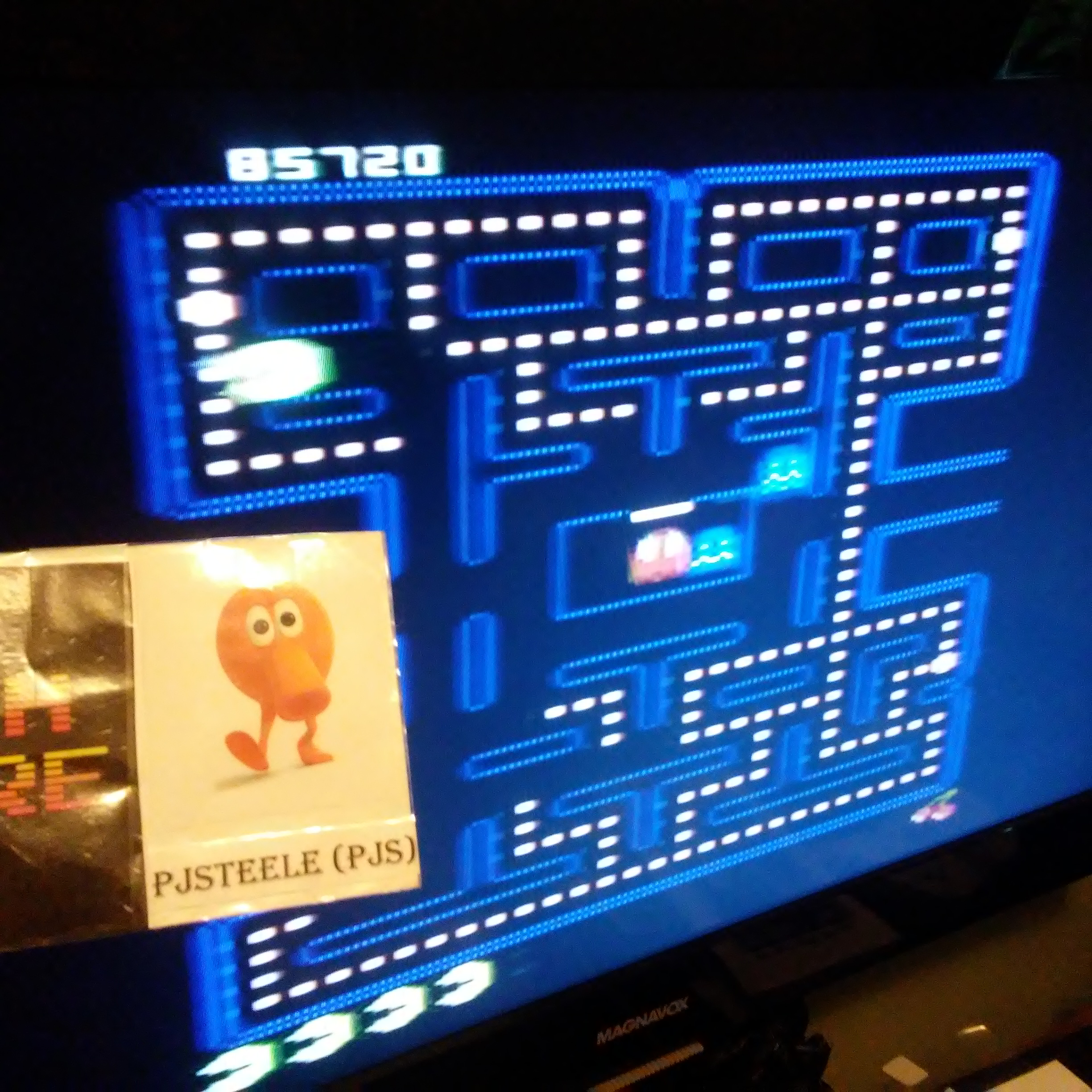 Pjsteele: Pac-Man Collection: Pac-Man [Cherries/Plus Off/Fast On/5 Lives] (Atari 7800) 85,720 points on 2018-09-10 16:54:58