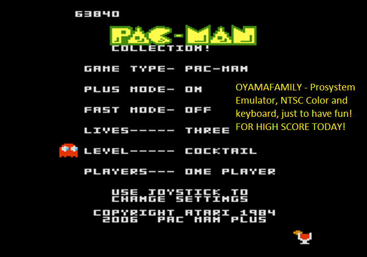 oyamafamily: Pac-Man Collection: Pac-Man [Cocktail/Plus On/Fast Off] (Atari 7800 Emulated) 63,840 points on 2018-08-12 18:28:43