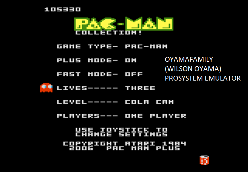 oyamafamily: Pac-Man Collection: Pac-Man [Cola/Plus On/Fast Off] (Atari 7800 Emulated) 105,330 points on 2016-03-06 14:26:10