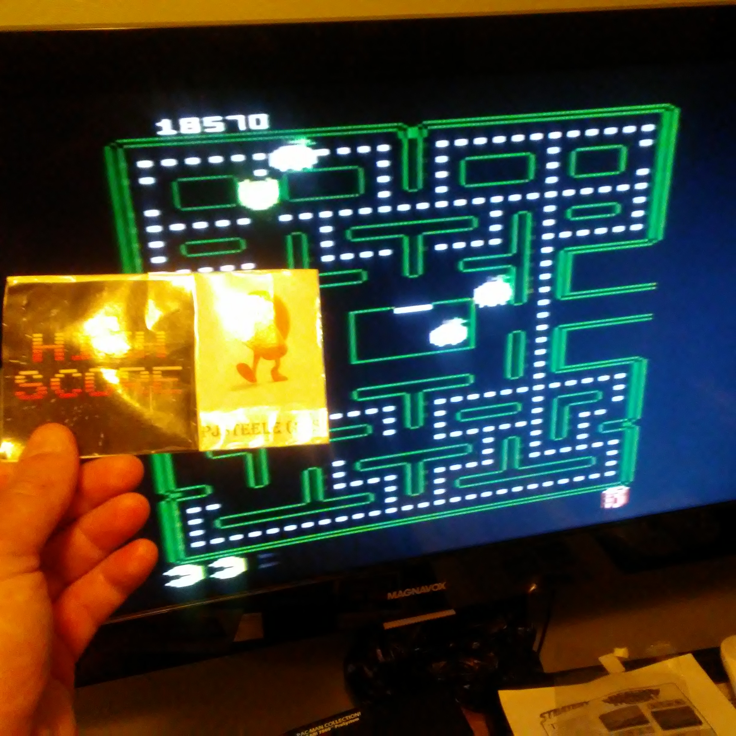 Pjsteele: Pac-Man Collection: Pac-Man [Cola/Plus On/Fast Off] (Atari 7800) 18,570 points on 2018-07-05 19:46:48