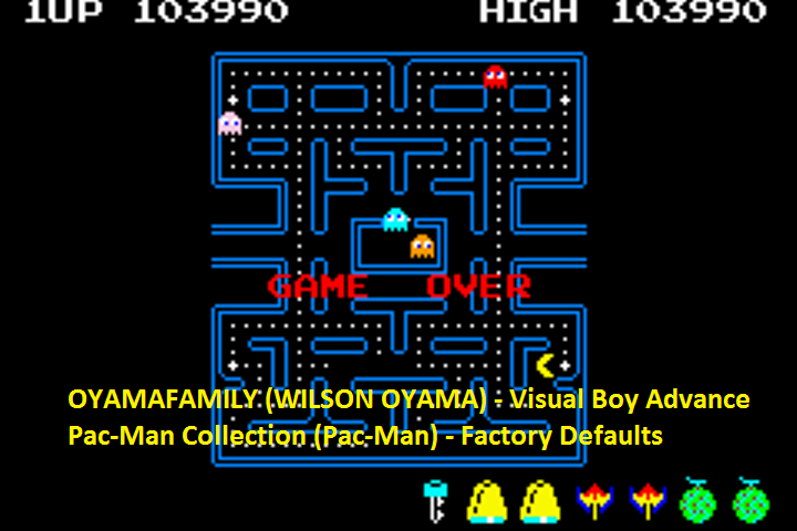 oyamafamily: Pac-Man Collection: Pac-Man (GBA Emulated) 103,990 points on 2016-05-14 18:44:09