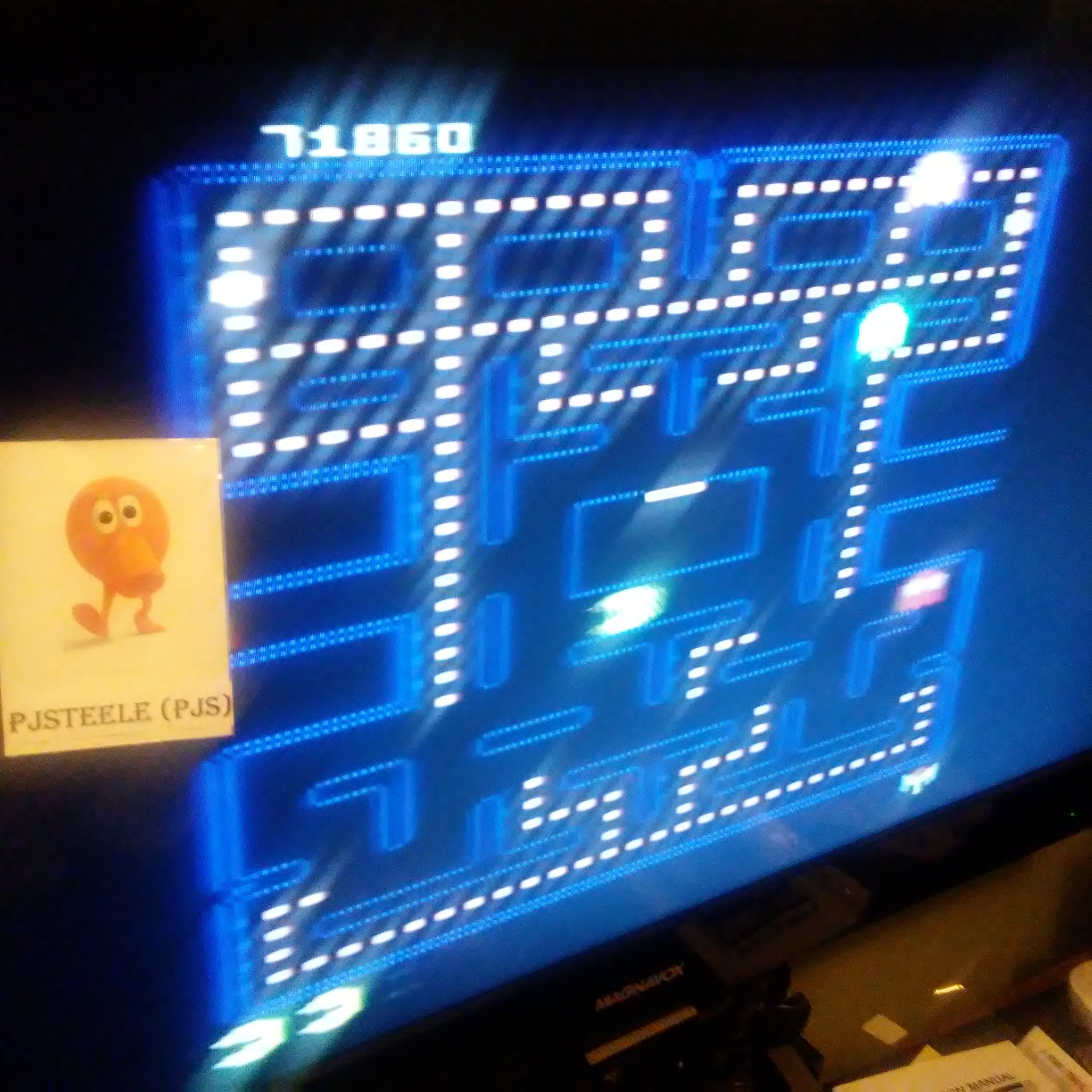 Pjsteele: Pac-Man Collection: Pac-Man [Galaxian One/Plus Off/Fast On] (Atari 7800) 71,860 points on 2018-09-19 20:08:12
