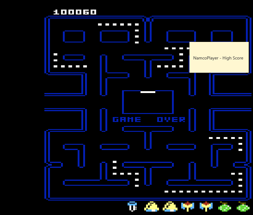 NamcoPlayer: Pac-Man Collection: Pac-Man [Orange One/Plus Off/Fast On] (Atari 7800 Emulated) 100,060 points on 2020-11-29 21:24:25