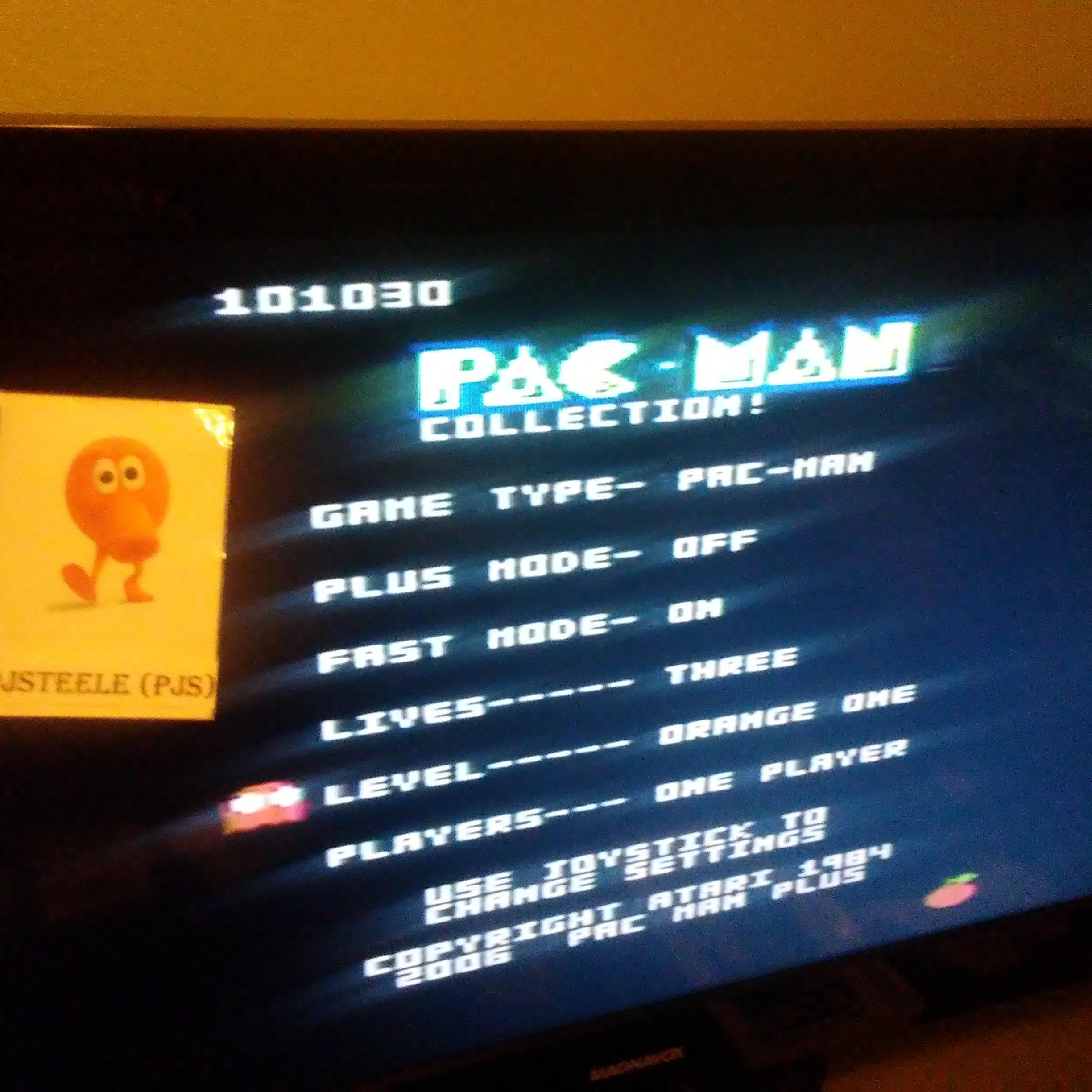Pjsteele: Pac-Man Collection: Pac-Man [Orange One/Plus Off/Fast On] (Atari 7800) 101,030 points on 2018-09-21 17:14:30