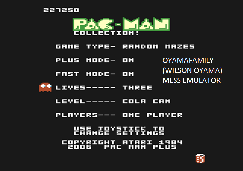 oyamafamily: Pac-Man Collection: Pac-Man/Random Mazes [Cola/Plus On/Fast On] (Atari 7800 Emulated) 227,250 points on 2016-02-14 12:04:06
