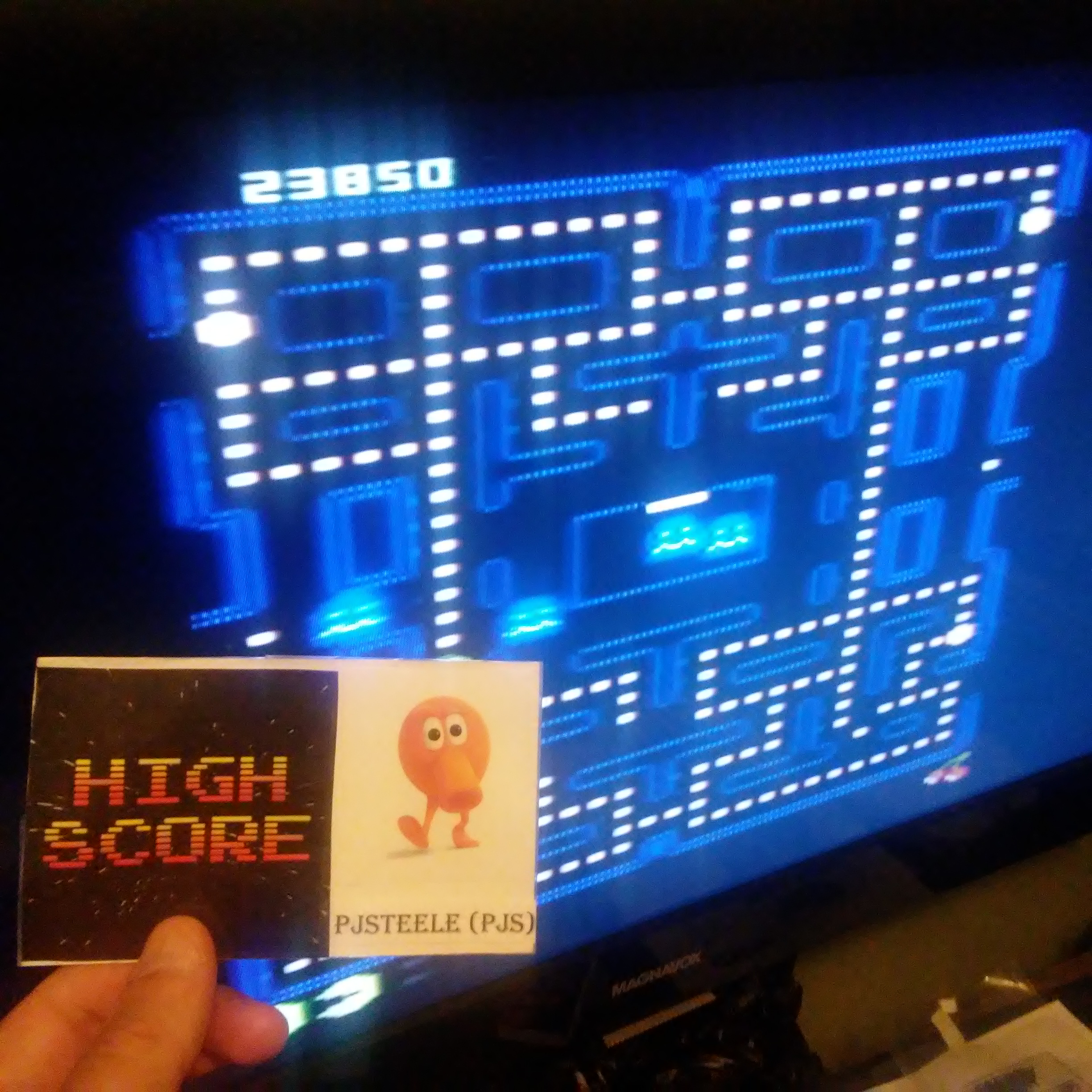 Pjsteele: Pac-Man Collection: Puck Man [Cherries/Plus Off/Fast Off] (Atari 7800) 23,850 points on 2018-07-05 21:43:39