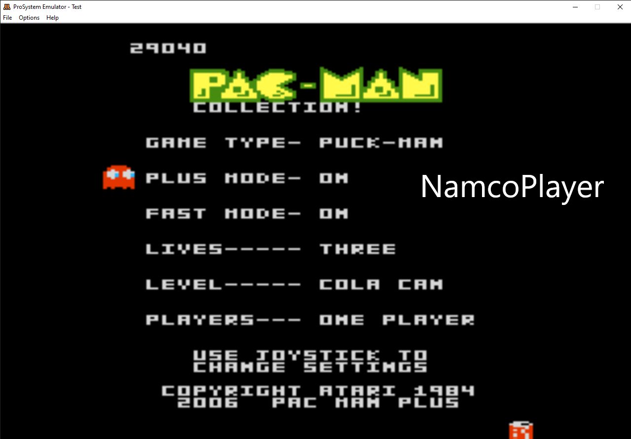 NamcoPlayer: Pac-Man Collection: Puck-Man [Cola/Plus On/Fast On] (Atari 7800 Emulated) 29,040 points on 2020-11-04 20:06:25