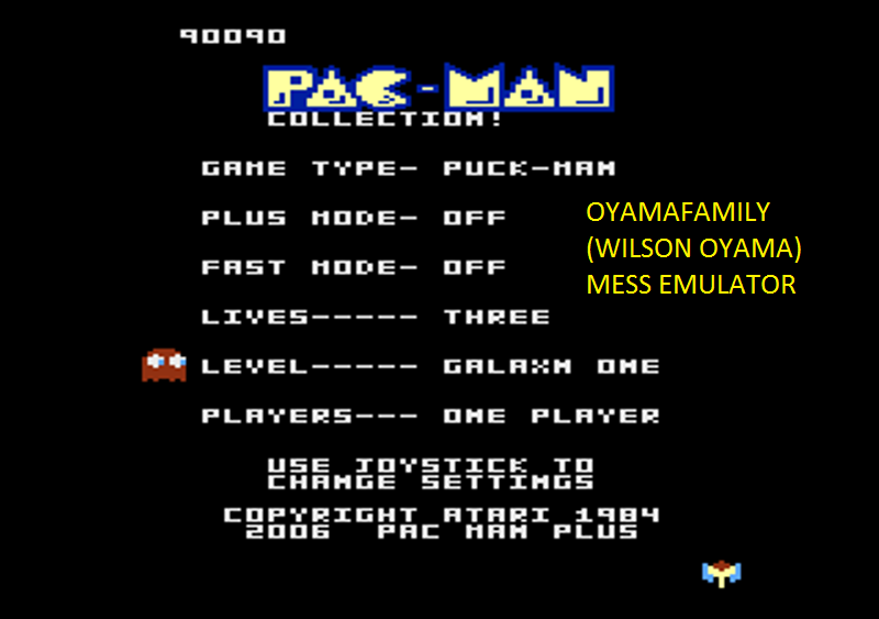 oyamafamily: Pac-Man Collection: Puck-Man [Galaxian One/Plus Off/Fast Off] (Atari 7800 Emulated) 90,090 points on 2016-05-08 21:11:42