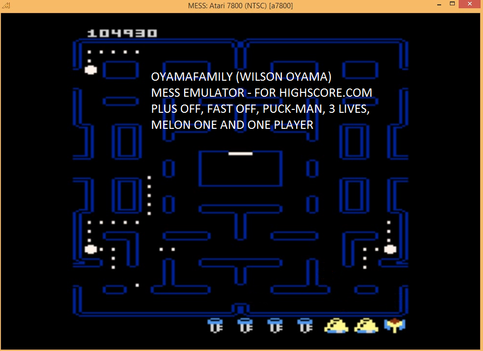 oyamafamily: Pac-Man Collection: Puck-Man [Melon One/Plus Off/Fast Off] (Atari 7800 Emulated) 104,930 points on 2016-02-14 05:31:55