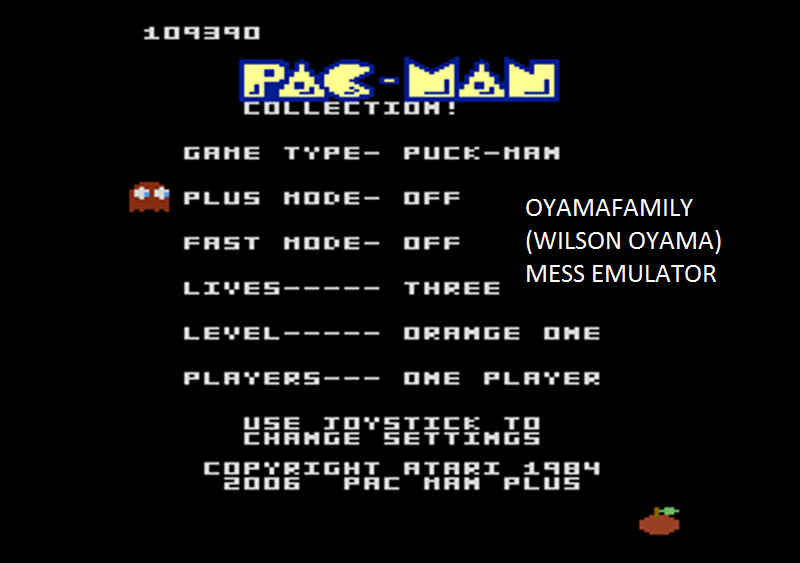 oyamafamily: Pac-Man Collection: Puck-Man [Orange One/Plus Off/Fast Off] (Atari 7800 Emulated) 109,390 points on 2016-02-14 05:31:38