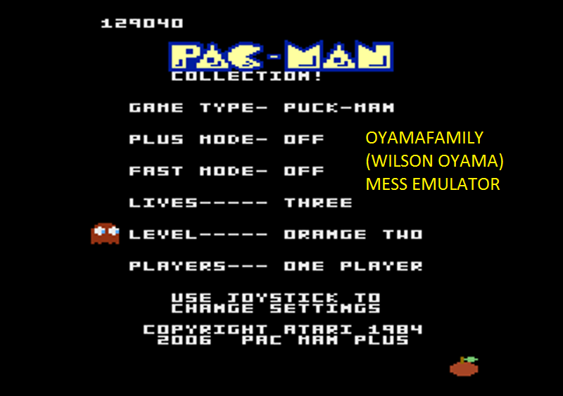 oyamafamily: Pac-Man Collection: Puck-Man [Orange Two/Plus Off/Fast Off] (Atari 7800 Emulated) 129,040 points on 2016-05-08 21:11:28