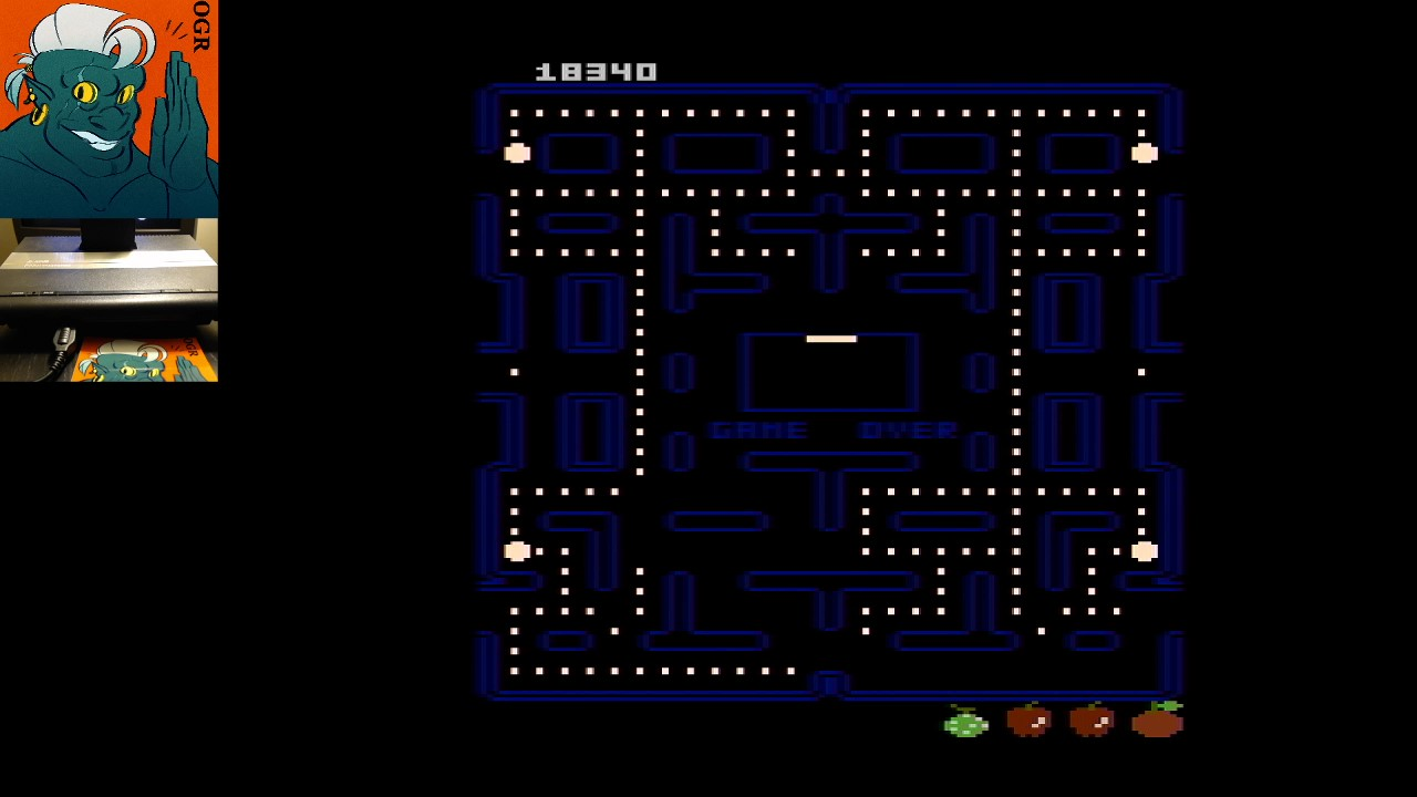 AwesomeOgre: Pac-Man Collection: Puck-Man [Orange Two/Plus Off/Fast Off] (Atari 7800) 18,340 points on 2020-05-17 00:36:53