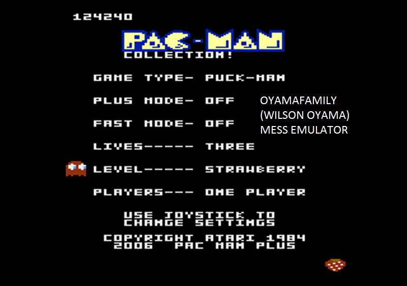 oyamafamily: Pac-Man Collection: Puck-Man [Strawberry/Plus Off/Fast Off] (Atari 7800 Emulated) 124,240 points on 2016-02-27 17:48:38