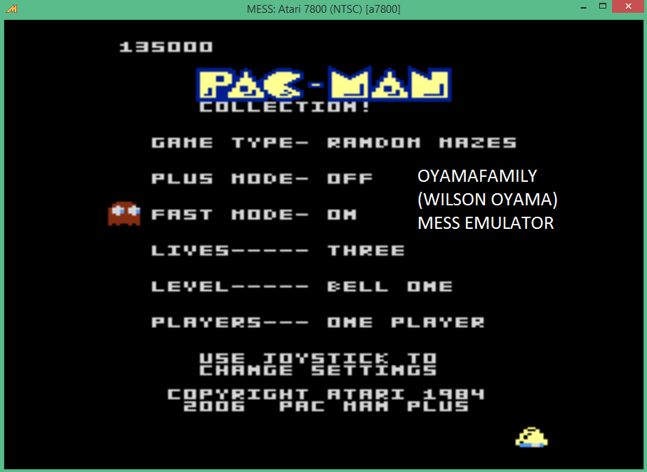 oyamafamily: Pac-Man Collection: Random [Bell One/Plus Off/Fast On] (Atari 7800 Emulated) 135,000 points on 2015-09-08 13:06:58