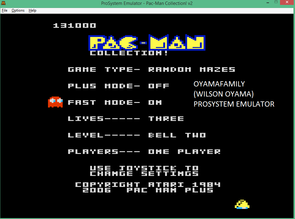 oyamafamily: Pac-Man Collection: Random [Bell Two/Plus Off/Fast On] (Atari 7800 Emulated) 131,000 points on 2015-08-31 21:08:35
