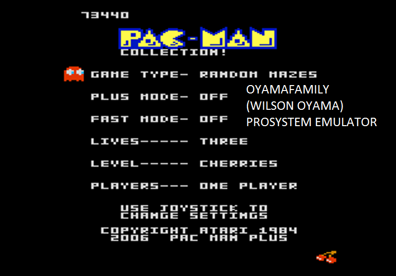 oyamafamily: Pac-Man Collection: Random [Cherries/Plus Off/Fast Off] (Atari 7800 Emulated) 73,440 points on 2016-02-28 19:52:47
