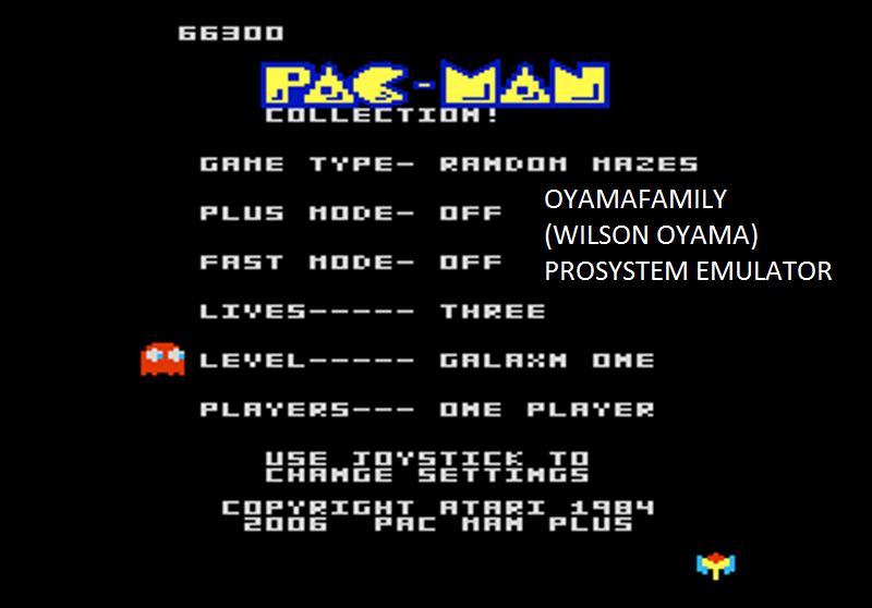 oyamafamily: Pac-Man Collection: Random [Galaxian One/Plus Off/Fast Off] (Atari 7800 Emulated) 66,300 points on 2016-03-03 17:09:28