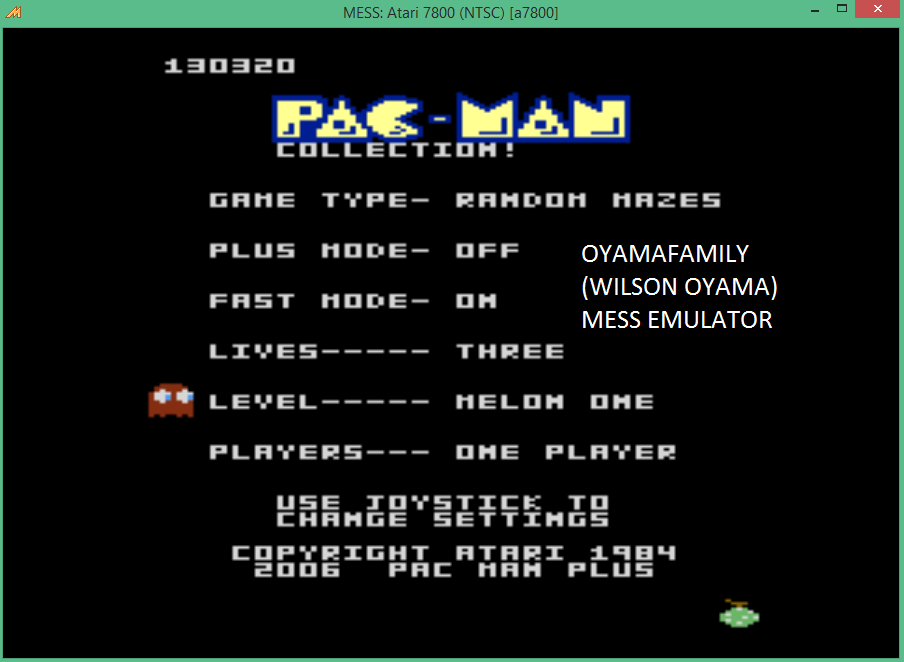 oyamafamily: Pac-Man Collection: Random [Melon One/Plus Off/Fast On] (Atari 7800 Emulated) 130,320 points on 2015-09-08 13:22:46