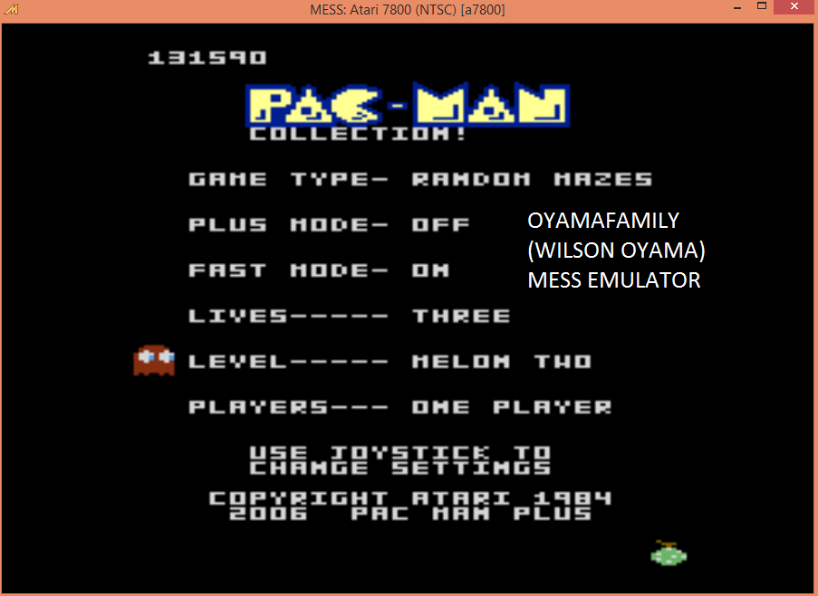 oyamafamily: Pac-Man Collection: Random [Melon Two/Plus Off/Fast On] (Atari 7800 Emulated) 131,590 points on 2015-09-08 13:42:05