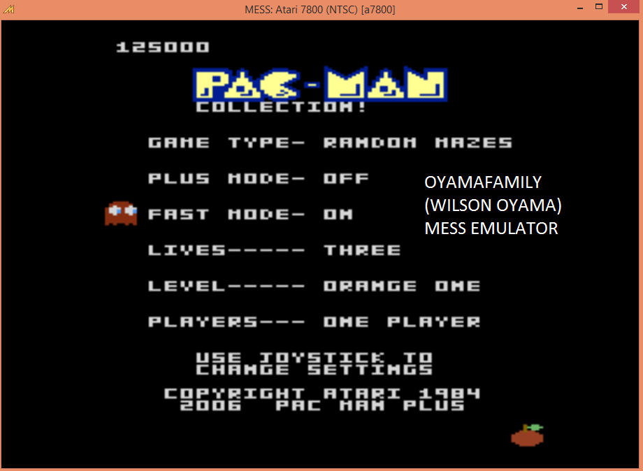 oyamafamily: Pac-Man Collection: Random [Orange One/Plus Off/Fast On] (Atari 7800 Emulated) 125,000 points on 2015-09-03 20:14:24