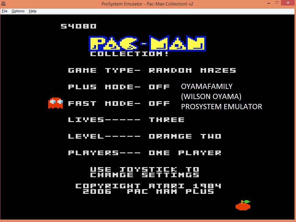 oyamafamily: Pac-Man Collection: Random [Orange Two/Plus Off/Fast Off] (Atari 7800 Emulated) 54,080 points on 2015-08-30 14:21:47
