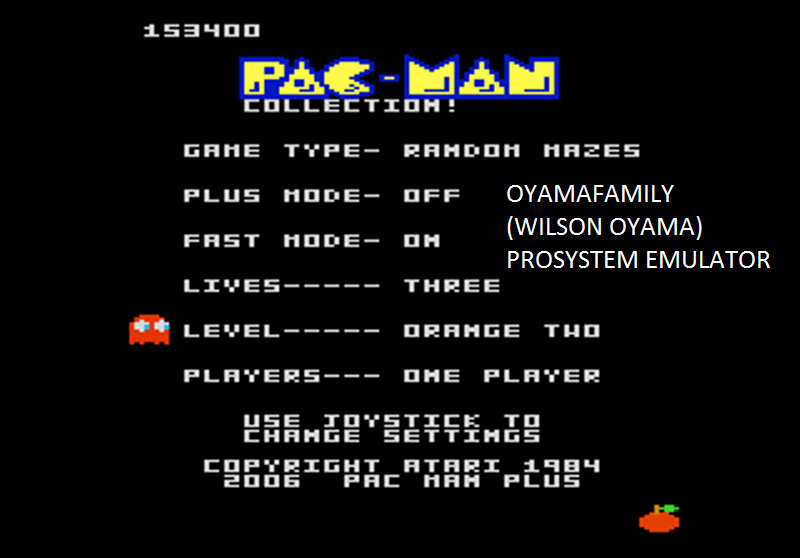 oyamafamily: Pac-Man Collection: Random [Orange Two/Plus Off/Fast On] (Atari 7800 Emulated) 153,400 points on 2016-03-03 17:09:12