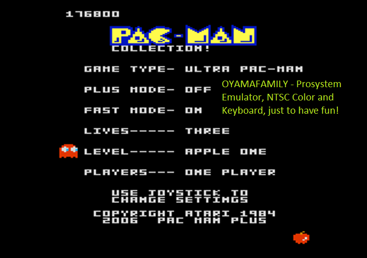 oyamafamily: Pac-Man Collection: Ultra Pac-Man [Apple One/Plus Off/Fast On] (Atari 7800 Emulated) 176,800 points on 2018-01-07 09:38:33