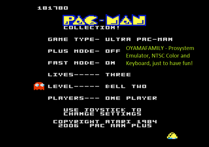 Pac-Man Collection: Ultra Pac-Man [Bell Two/Plus Off/Fast On] 181,780 points