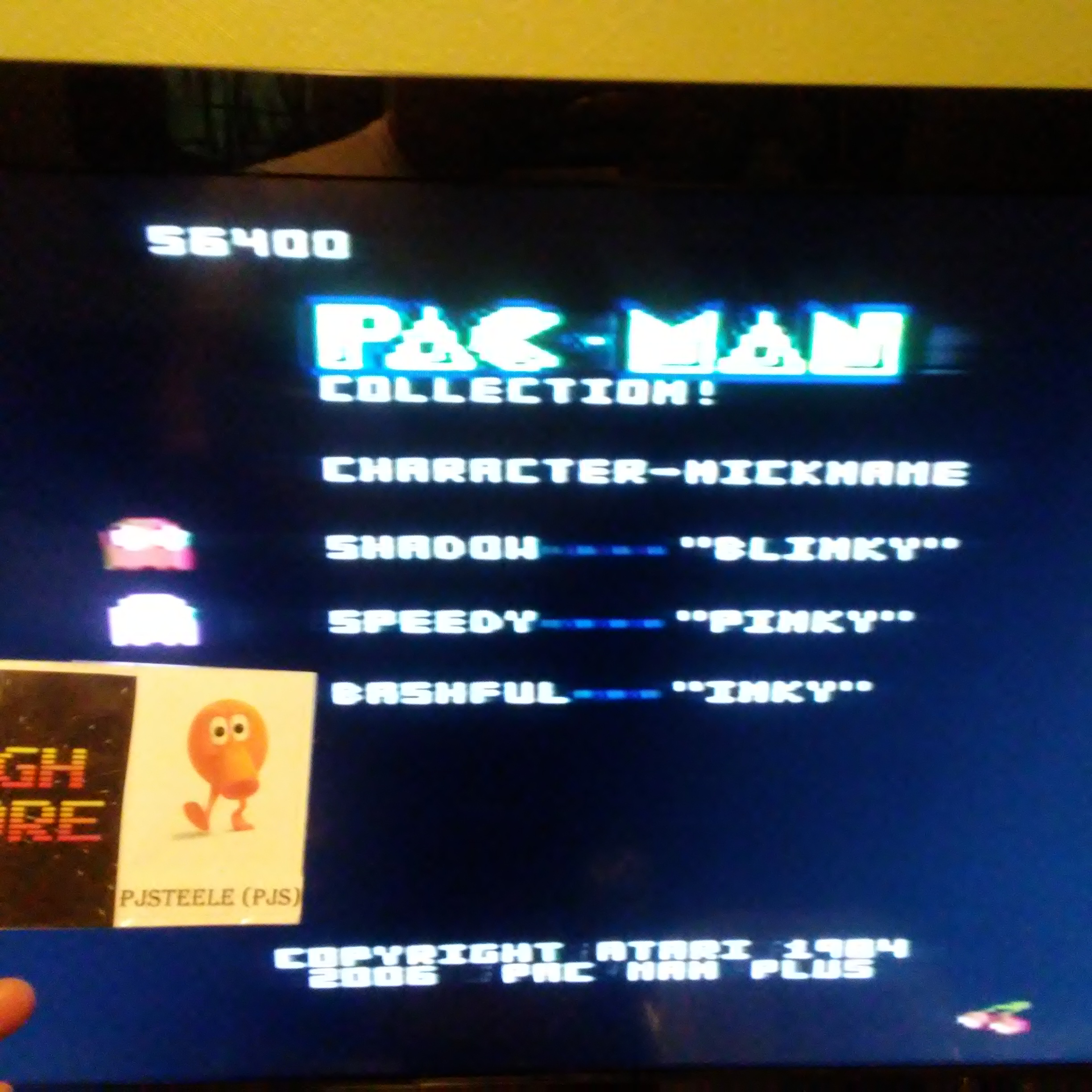 Pjsteele: Pac-Man Collection: Ultra Pac-Man [Cherries/Plus Off/Fast On] (Atari 7800) 56,400 points on 2018-07-06 17:52:28