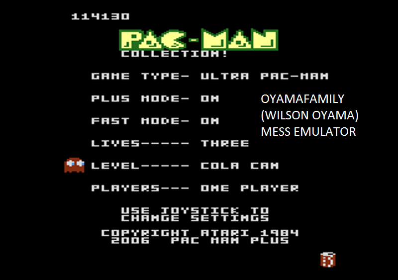 oyamafamily: Pac-Man Collection: Ultra Pac-Man [Cherries/Plus On/Fast On] (Atari 7800 Emulated) 114,130 points on 2016-02-14 04:28:15