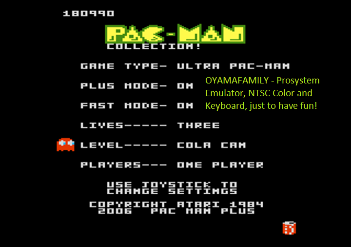 Pac-Man Collection: Ultra Pac-Man [Cherries/Plus On/Fast On] 180,990 points