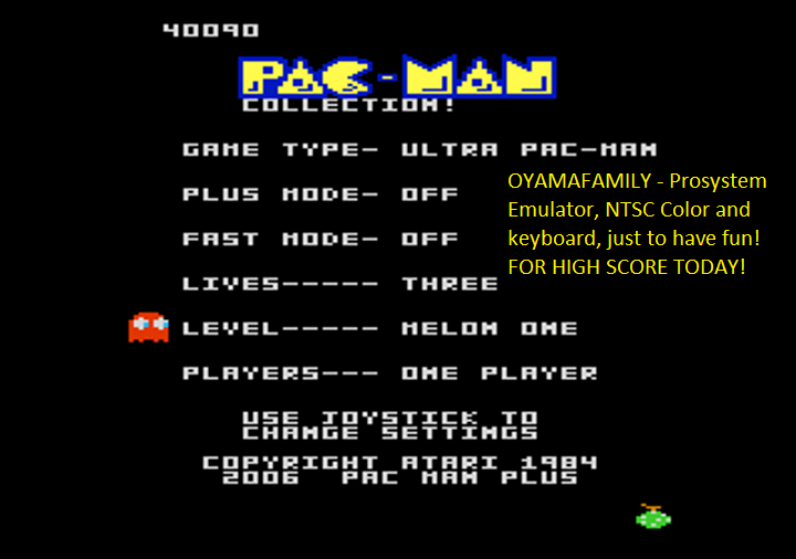 oyamafamily: Pac-Man Collection: Ultra Pac-Man [Melon One/Plus Off/Fast Off] (Atari 7800 Emulated) 40,090 points on 2018-08-12 18:33:21