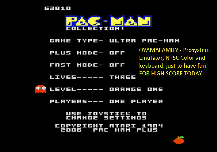 oyamafamily: Pac-Man Collection: Ultra Pac-Man [Orange One/Plus Off/Fast Off] (Atari 7800 Emulated) 63,810 points on 2018-08-12 18:35:16