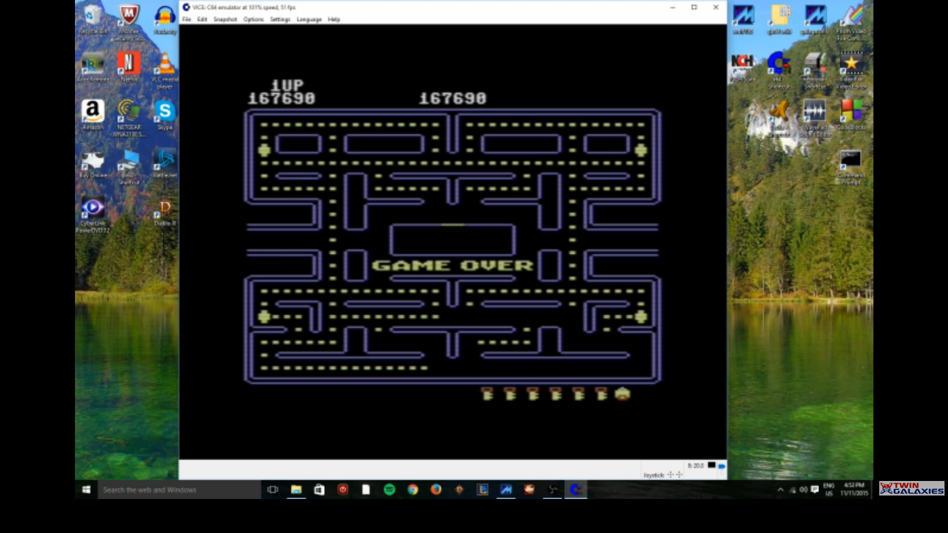 MikeDietrich: Pac-Man (Commodore 64 Emulated) 167,690 points on 2016-10-17 16:04:55