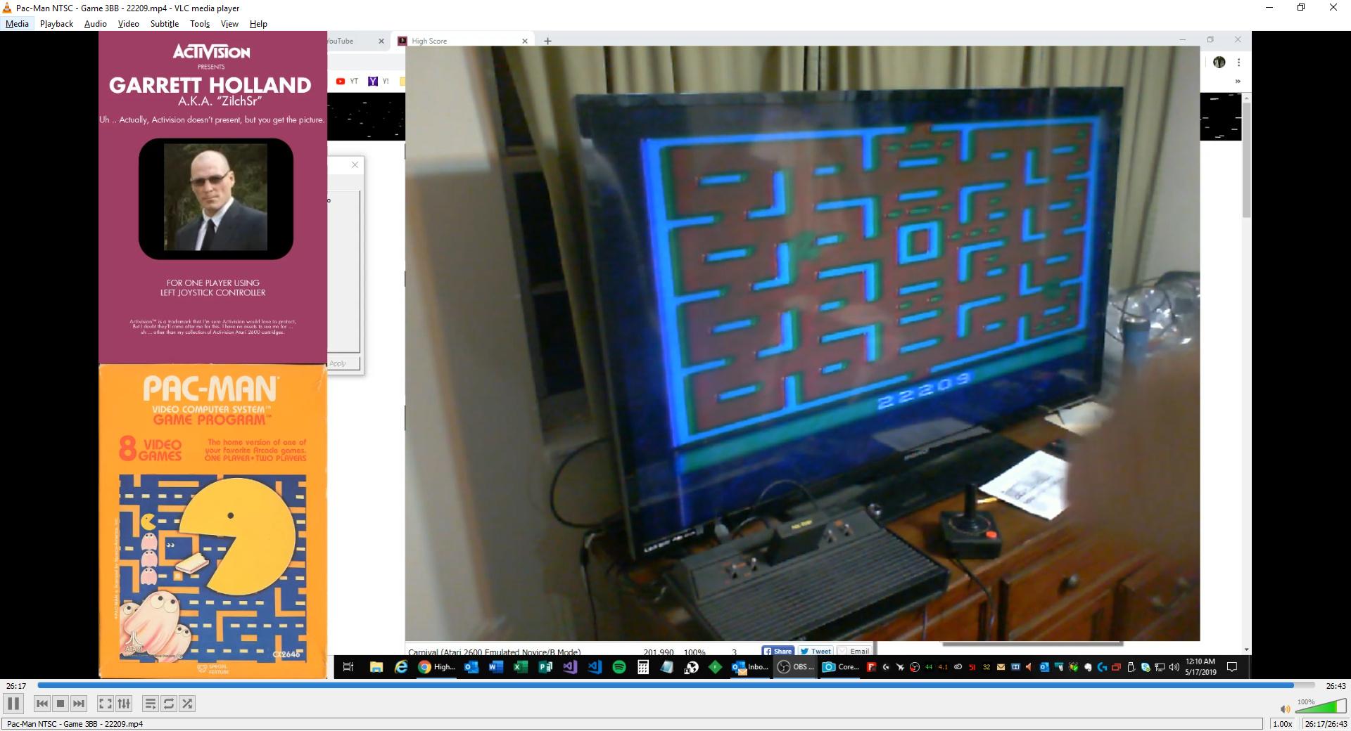 ZilchSr: Pac-Man: Game 3 (Atari 2600 Novice/B) 22,209 points on 2019-05-16 23:19:38