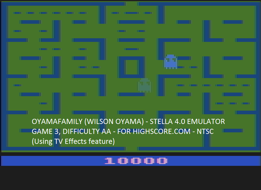 oyamafamily: Pac-Man: Game 3 (Atari 2600 Emulated Expert/A Mode) 10,000 points on 2016-05-21 12:24:15