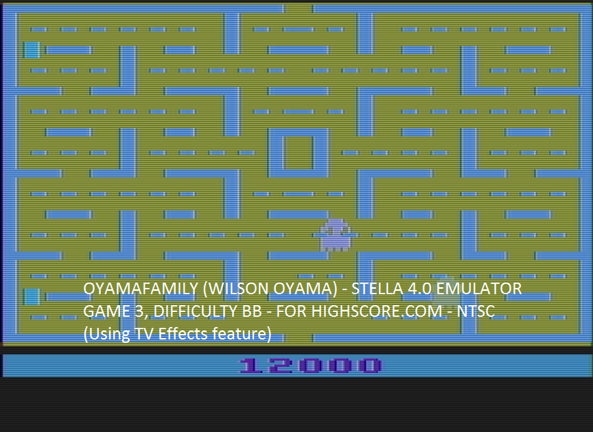 oyamafamily: Pac-Man: Game 3 (Atari 2600 Emulated Novice/B Mode) 12,000 points on 2016-05-21 12:24:02