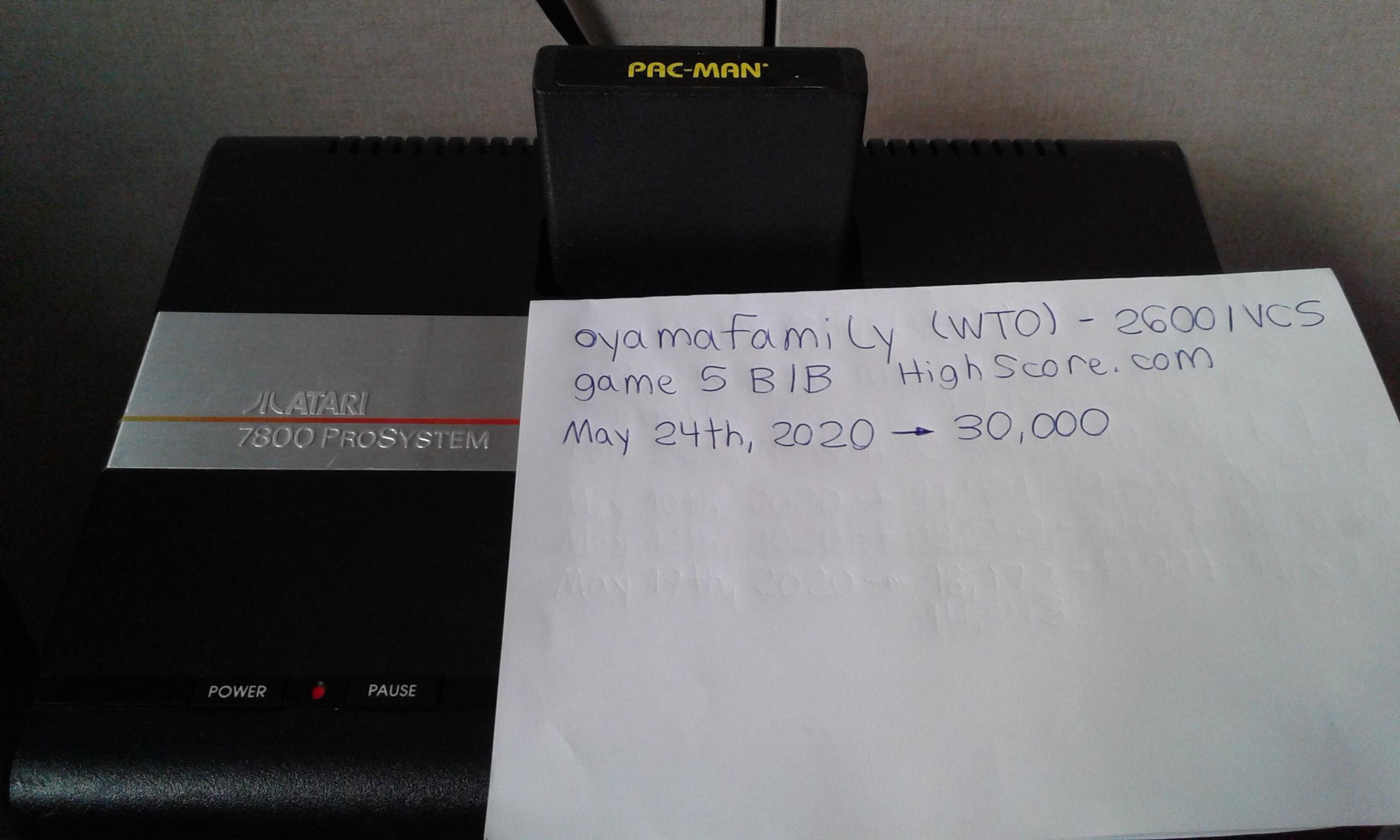 oyamafamily: Pac-Man: Game 5 (Atari 2600 Novice/B) 30,000 points on 2020-05-24 15:12:02