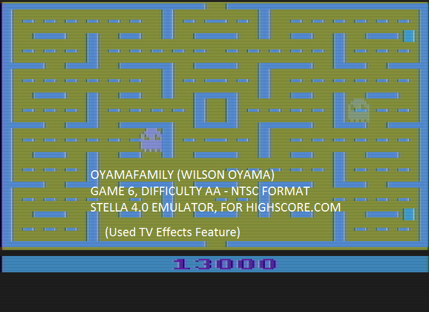 oyamafamily: Pac-Man: Game 6 (Atari 2600 Emulated Expert/A Mode) 13,000 points on 2016-05-10 19:47:47