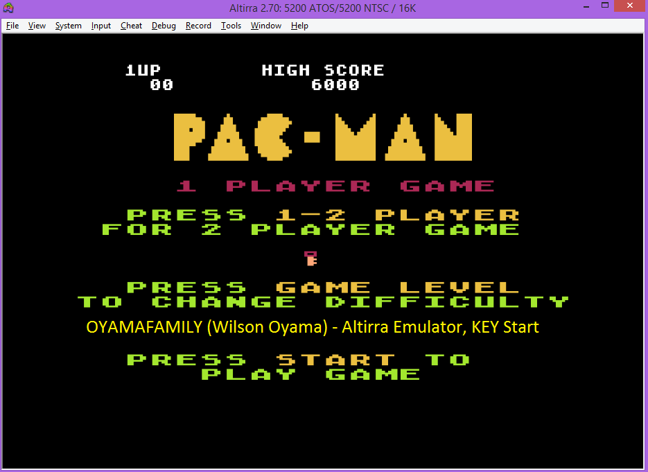 oyamafamily: Pac-Man: Key Start (Atari 5200 Emulated) 6,000 points on 2016-07-25 19:26:19