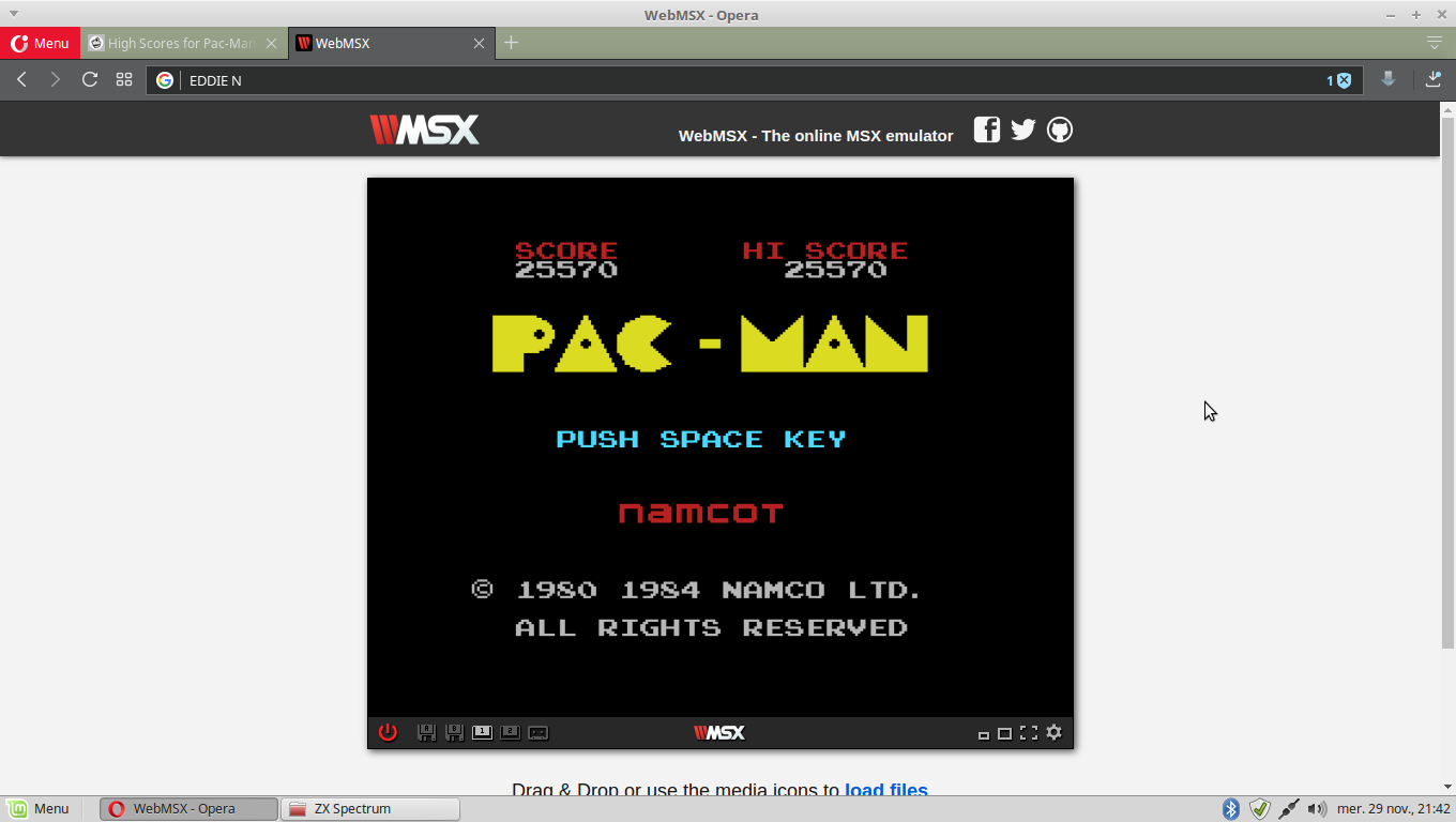 EddieNiceguy: Pac-Man (MSX Emulated) 25,570 points on 2017-11-29 14:43:15