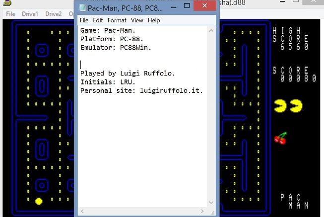 LuigiRuffolo: Pac-Man (NEC PC-88 Emulated) 6,560 points on 2021-03-05 16:04:49