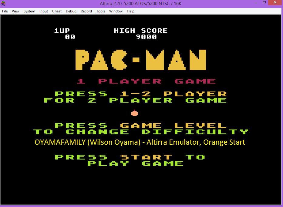 oyamafamily: Pac-Man: Orange Start (Atari 5200 Emulated) 9,000 points on 2016-07-25 19:27:21