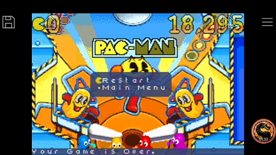 omargeddon: Pac-Man Pinball Advance: Pac-Village Classic Table (GBA Emulated) 18,295 points on 2018-12-09 23:47:34