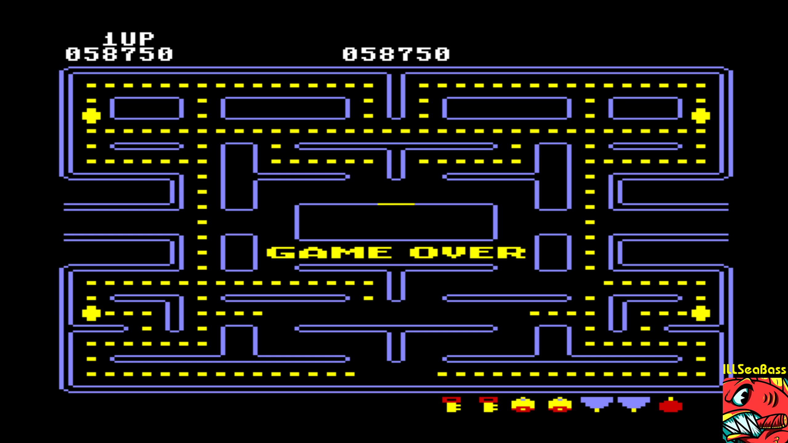 ILLSeaBass: Pac-Man [Plum start] (Commodore 64 Emulated) 58,750 points on 2018-02-12 02:02:17