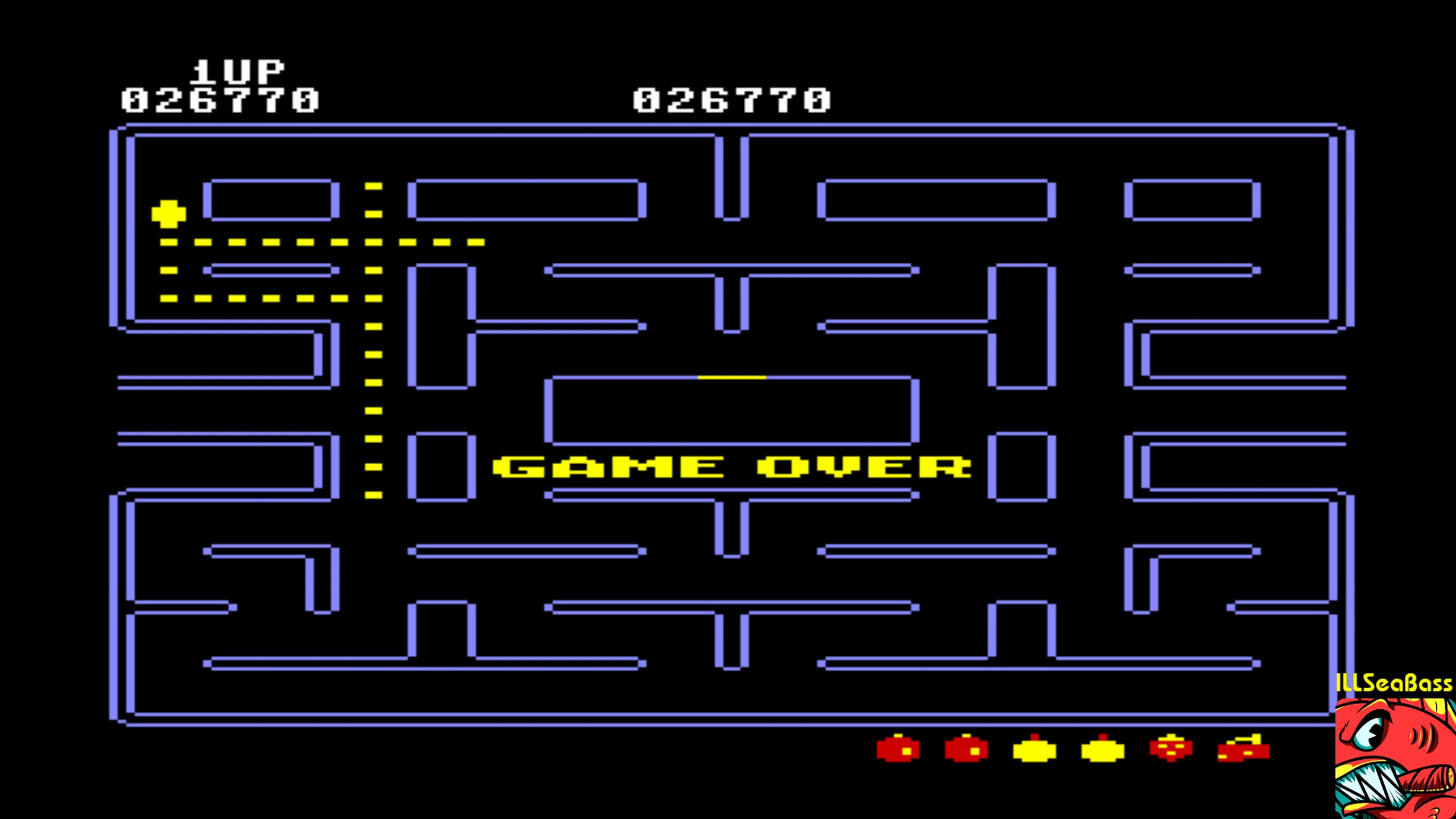ILLSeaBass: Pac-Man [Strawberry start] (Commodore 64 Emulated) 26,770 points on 2018-02-12 00:19:39